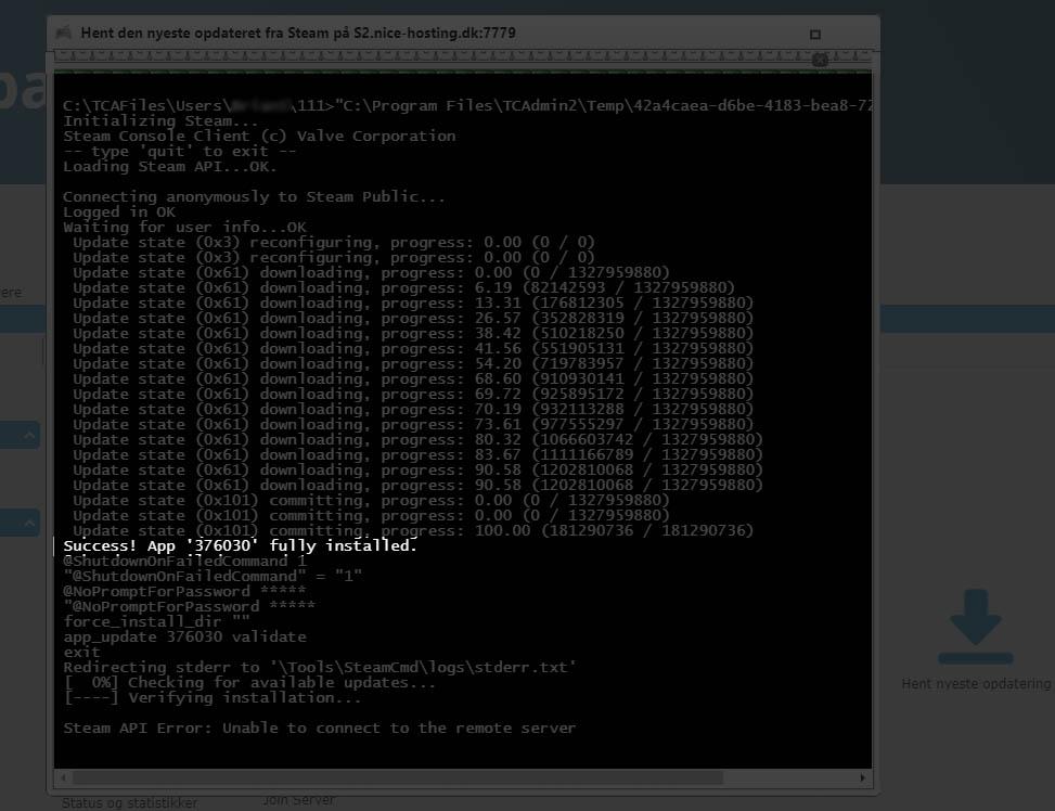 Opdater din ARK server hos Nice-Hosting