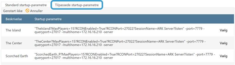 Opret et tilpasset startup-parameter til din ARK-server hos Nice-Hosting.dk