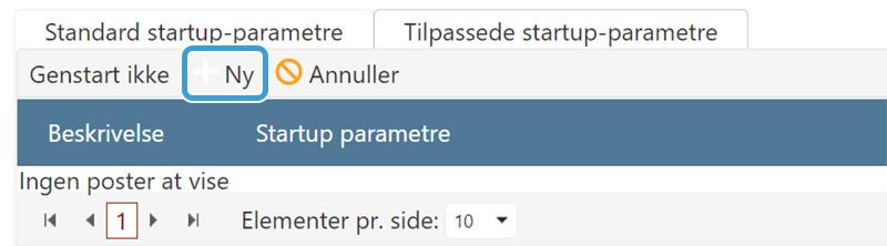 Klik 'Ny' for at oprette et tilpasset startup-parameter til din ARK server hos nicehosting