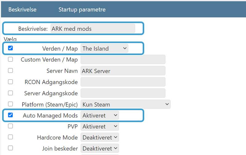 Aktiver Auto Managed Mods hos Nice-Hosting.dk ARK Server