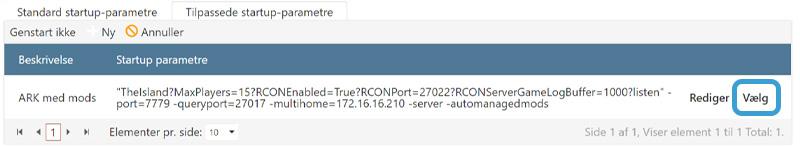 Vælg dit nye startup-parameter til din ARK-server hos Nice-Hosting