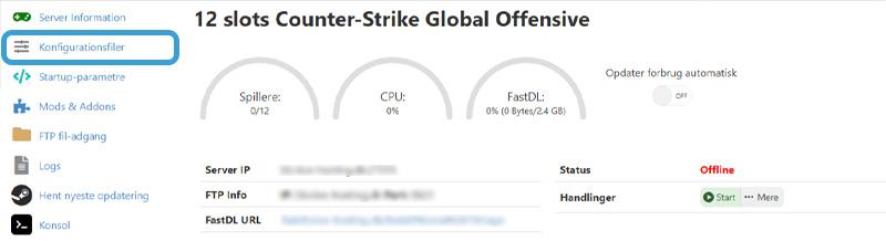 Indsæt Steam Token på CS:GO server hos Nice-Hosting