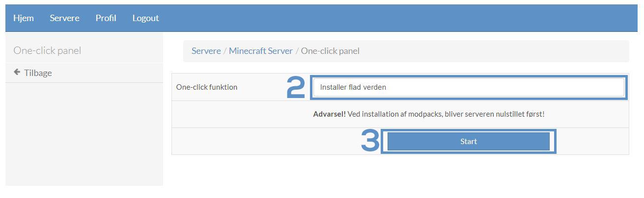 Installer flad verden på din minecraft server
