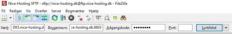Indtast dine FTP oplysninger i FileZilla