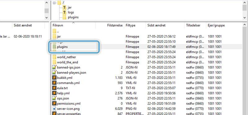 Find plugins mappen i filezilla hos Nice-Hosting