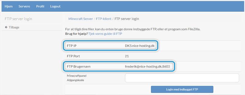 Dine FTP oplysninger til din Minecraft-server hos Nice-Hosting
