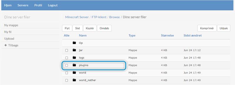 Gå ind i din servers plugins mappe hos nicehosting