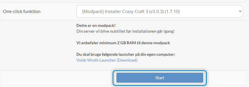 Start installationen af en modpack på din Minecraft server hos Nice-Hosting