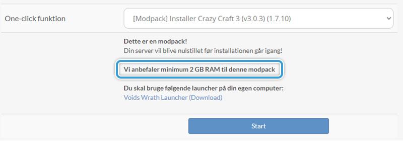 Tjek om din server har nok RAM til at køre modpacken hos Nice-Hosting