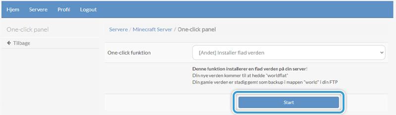 Bekræft at du vil installere en flad verden på din server.