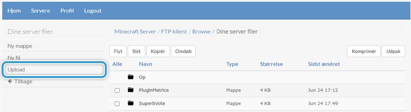 Upload et plugin til din server hos Nice-Hosting