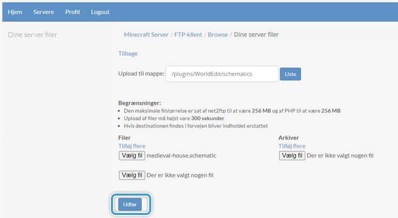 Gennemfør din upload af Schematic til din server hos Nice-Hosting