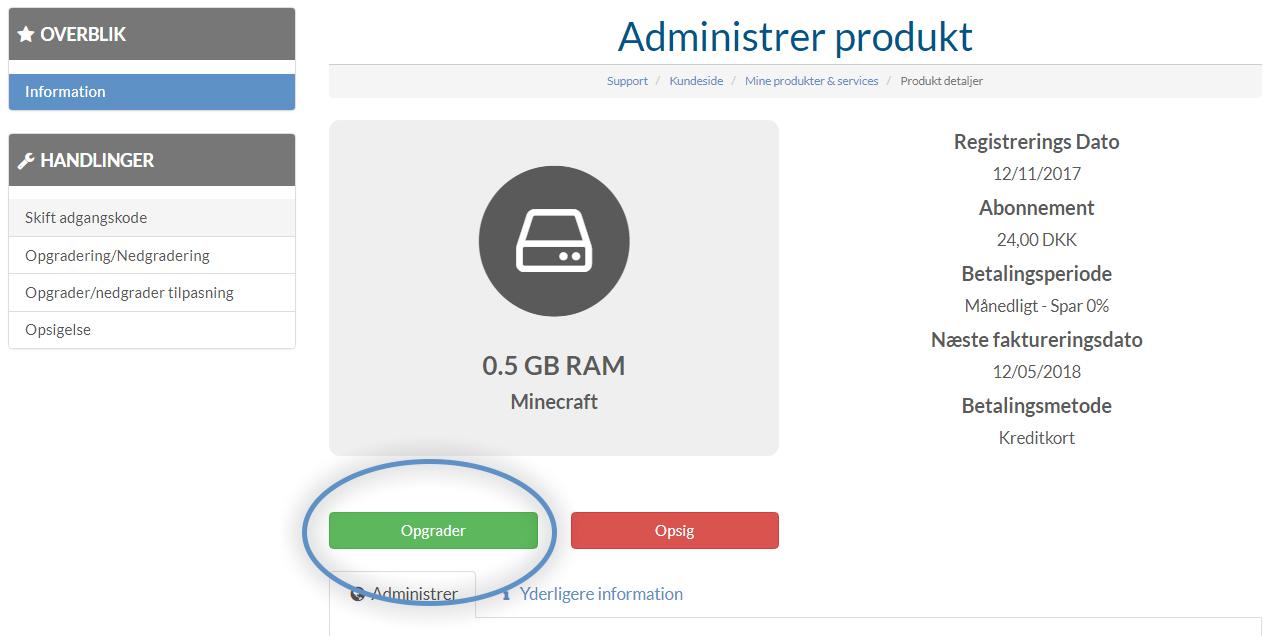 Sådan opgraderer du din server - Nice-Hosting