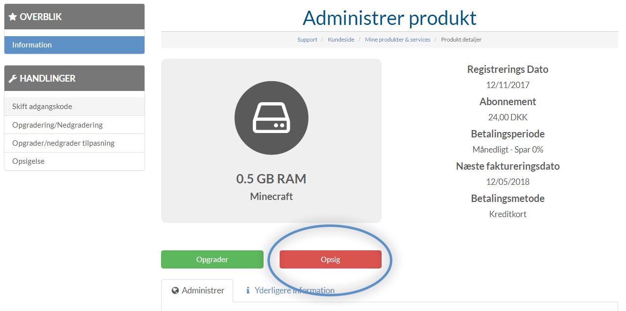 Hvordan opsiger jeg min server hos Nice-Hosting?
